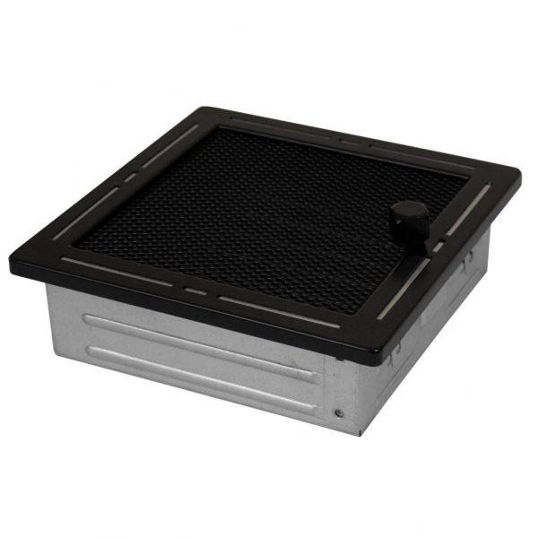Luchtrooster 160x160mm verstelbare lamellen zwart DESIGN