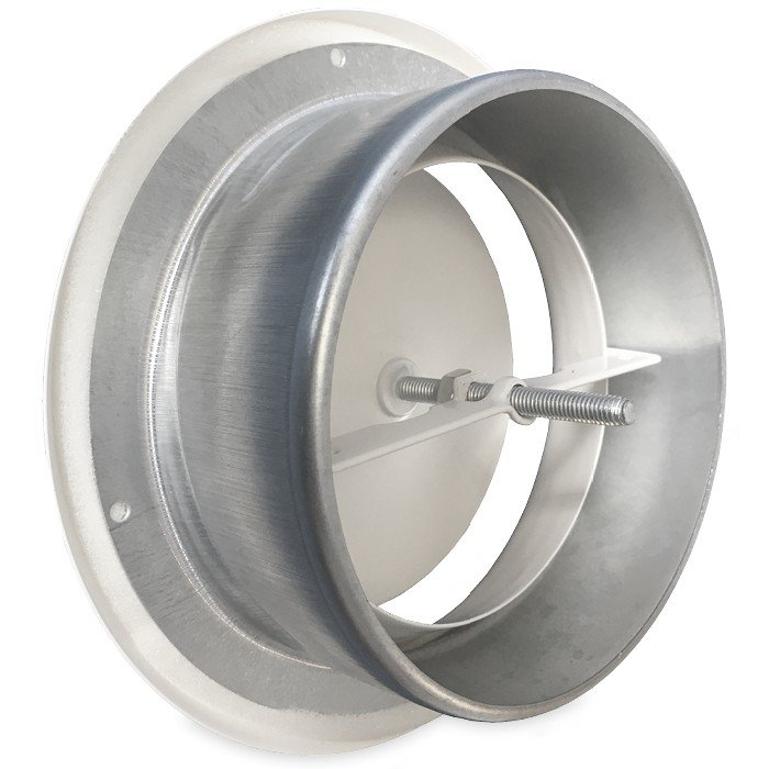 Luchtventiel staal Ø125mm wit AFVOER