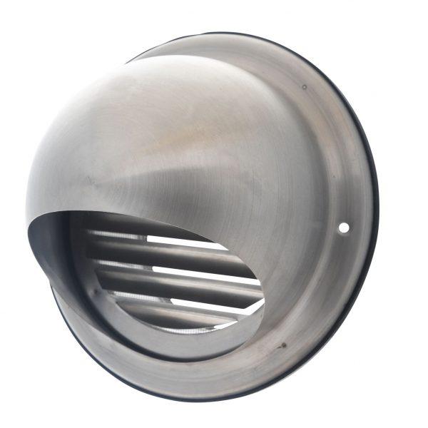 Bolrooster RVS Ø150mm met schoepen en muggengaas