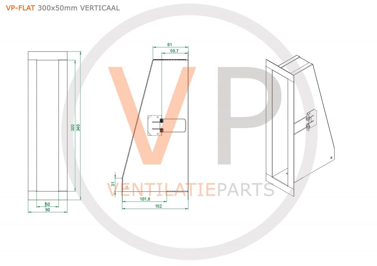 Convectierooster 300x50mm wit VP-FLAT VERTICAAL